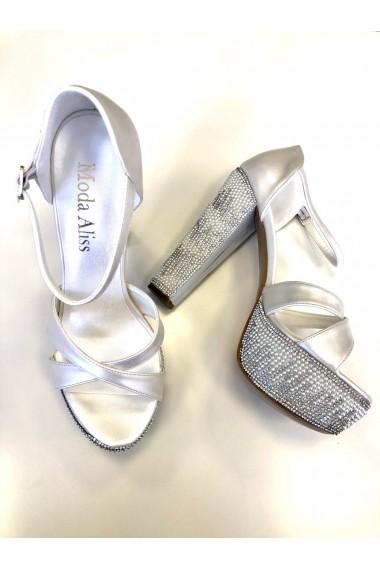 Sandale cu platforma si cristale Moda Aliss SD004 Alb