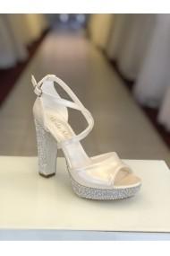 Sandale cu platforma si cristale Moda Aliss SD005 Alb
