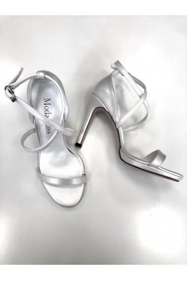 Sandale cu toc Moda Aliss din piele ecologica, Albe