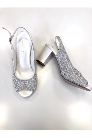 Sandale cu toc Moda Aliss din piele ecologica, Argintii