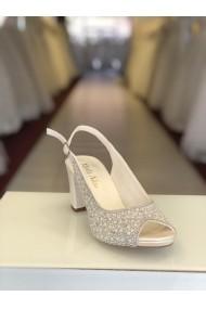 Sandale cu toc jos si cristale Moda Aliss SD010 Argintiu