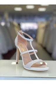 Sandale de mireasa cu toc si barete Moda Aliss SD015 Alb