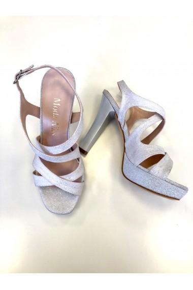 Sandale cu platforma si sclipici Moda Aliss SD016 Crem