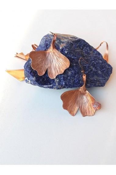Cercei Oplaine Crafts din cupru si cupru oxidat Frunza de Ginko Biloba