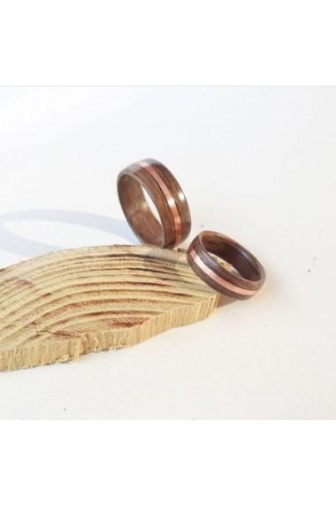 Inel Opaline Crafts din lemn de nuc si insertie de cupru