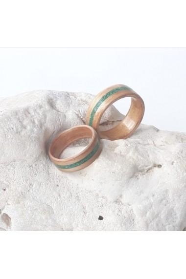 Inel Opaline Crafts din lemn de cires si insertie de piatra Crisocola