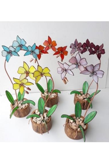 Floare decorativa Opaline Craftis de cupru si sticla de Vitraliu in suport