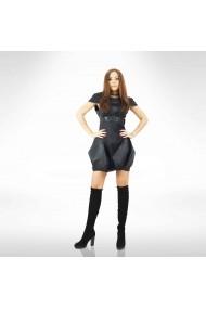 Rochie mini neagra din piele si satin