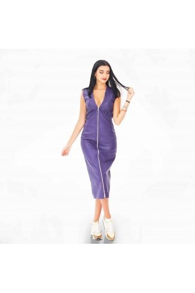 Rochie lunga din piele mov