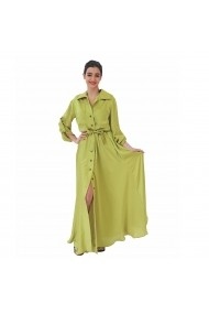 Rochie lunga cu nasturi si cordon verde