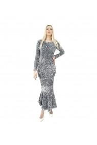 Rochie eleganta lunga cu paiete argintii