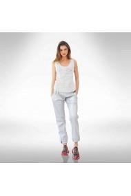 Pantaloni argintii din piele