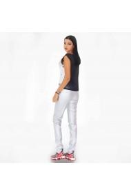 Pantaloni argintii din piele fara buzunare