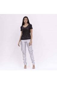 Pantaloni argintii din piele cu buzunare