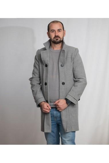 Palton barbati Lewo din stofa 80% lana gri