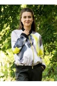 Jacheta Lewo cu fermoar si buzunare cu imprimeu multicolor
