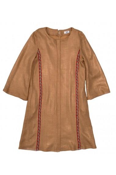 Rochie Lewo aurie din tricot cu aplicatii