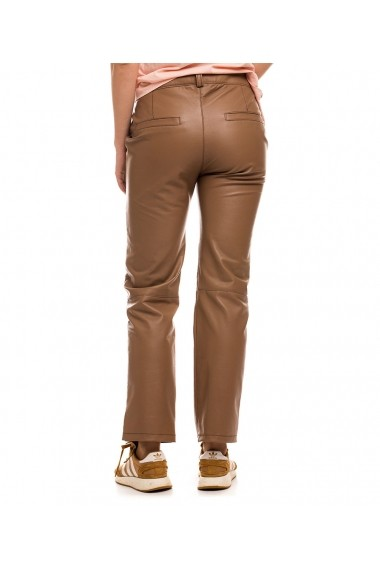 Pantaloni drepti Lewo din piele naturala Maro