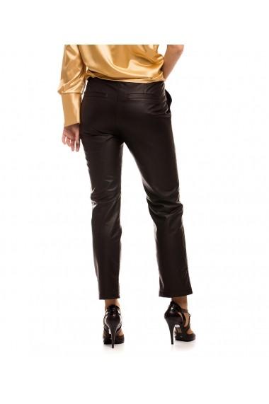 Pantaloni drepti drepti Lewo din piele naturala Negri