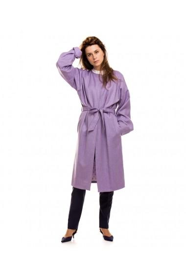 Palton oversize Lewo din stofa de lana lila