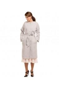 Palton oversize Lewo din stofa de lana gri