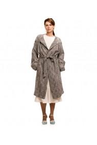 Palton oversize Lewo din stofa de lana carouri