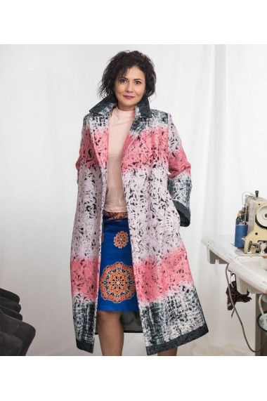 Palton oversize Lewo din stofa de lana imprimata Roz