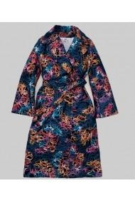 Palton oversize Lewo din stofa de lana imprimeu multicolor albastru