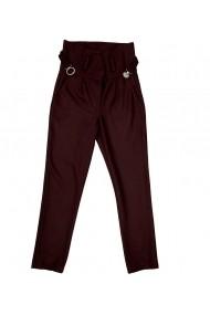 Pantalon dama Lewo cu talie inalta din stofa de lana 80% maro