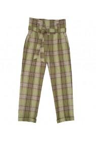 Pantalon dama Lewo cu talie inalta din stofa de lana in carouri