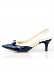 Pantofi cu toc-sandale Thea Visconti bleumarin-lac cu bej