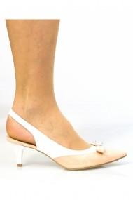 Pantofi cu toc Thea Visconti 078 nude-lac cu alb