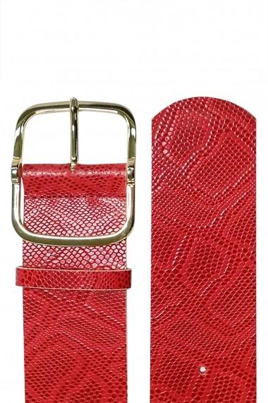 Curea Mabotex din piele naturala rosie cu catarama metalica aurie 6cm