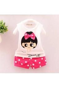 Set tricou alb cu pantaloni scurti Malvera roz cu buline pentru fetite Sweet Girl