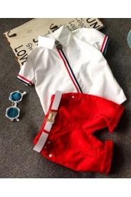 Set 2 piese baieti Malvera format din camasa alba si pantaloni scurti rosii