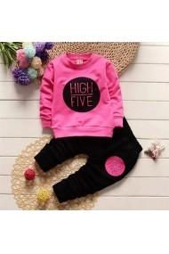 Set 2 piese fetite Malvera bluza cu maneca lunga roz si pantaloni negri