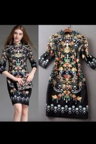 Rochie de zi Malvera neagra cu model multicolor si maneci trei sfert