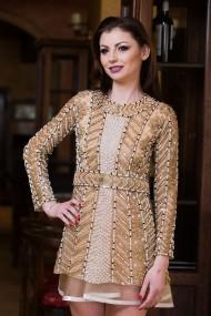 Rochie eleganta Malvera Luxury aurie cu cordon