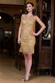Rochie unicat Malvera Luxury scurta eleganta cu franjuri de sticla aurii